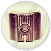Baby Brownie Art Deco Camera In Sepia Round Beach Towel