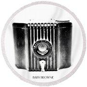 Baby Brownie Bw Art Deco Camera Round Beach Towel