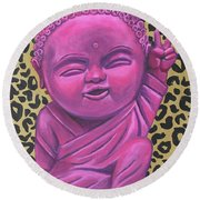 Baby Buddha 2 Round Beach Towel by Ashley Price