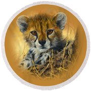 Baby Cheetah  Round Beach Towel by Lucie Bilodeau