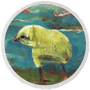 Baby Chick - Little Chicken Round Beach Towel by Jan Dappen