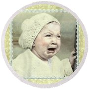 Baby Cries Round Beach Towel