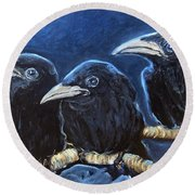 Baby Crows Round Beach Towel