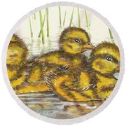 Baby Ducks For Ma Round Beach Towel