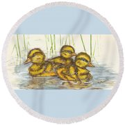Baby Ducks For Ma Round Beach Towel