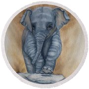 Round Beach Towel featuring the painting Baby Elephant  by Kelly Mills