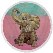 Baby Elephant Round Beach Towel by Michael Creese