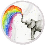 Baby Elephant Spraying Rainbow Round Beach Towel