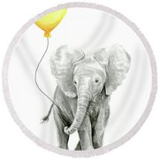 Baby Elephant Watercolor With Yellow Balloon Round Beach Towel