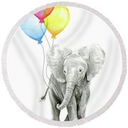 Baby Elephant With Baloons Round Beach Towel