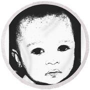 Baby Face 2 Round Beach Towel