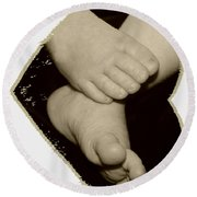 Baby Feet Round Beach Towel by Ellen O'Reilly