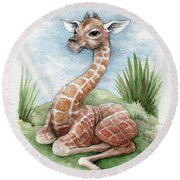 Round Beach Towel featuring the painting Baby Giraffe by Lora Serra