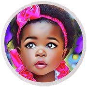 Baby Girl Round Beach Towel
