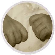 Baby Hands Round Beach Towel