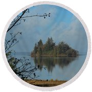Round Beach Towel featuring the photograph Baby Island In Willapa Bay by E Faithe Lester