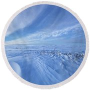 Round Beach Towel featuring the photograph Baby It's Cold Outside by Phil Koch
