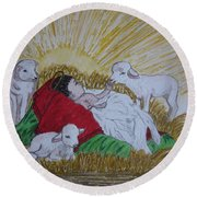 Baby Jesus At Birth Round Beach Towel by Kathy Marrs Chandler