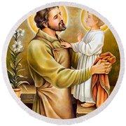 Baby Jesus Talking To Joseph Round Beach Towel