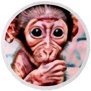 Baby Monkey Realistic Round Beach Towel