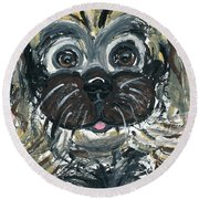 Round Beach Towel featuring the painting Baby Oh Baby by Ania M Milo