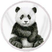 Baby Panda Watercolor Round Beach Towel