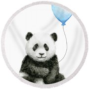 Baby Panda With Blue Balloon Watercolor Round Beach Towel