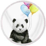 Baby Panda With Heart-shaped Balloons Round Beach Towel