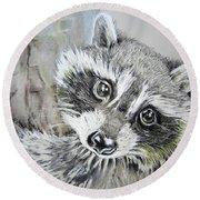 Baby Raccoon Round Beach Towel