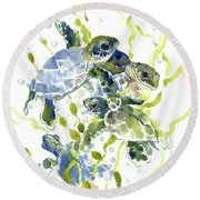 Baby Sea Turtles In The Sea Round Beach Towel