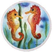 Baby Seahorses Round Beach Towel