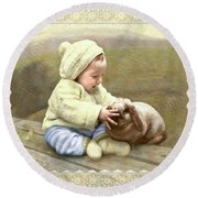 Baby Touches Bunny's Nose Round Beach Towel