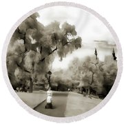 Round Beach Towel featuring the painting Baby Walker Woman In The Park by Odon Czintos