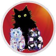 Baby Wu, Baby Moo, And Snowflake Dizzycats Round Beach Towel by DC Langer