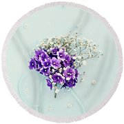 Baby's Breath And Violets Bouquet Round Beach Towel by Stephanie Frey