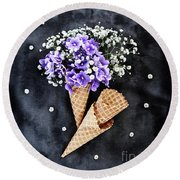 Baby's Breath And Violets Ice Cream Cones Round Beach Towel by Stephanie Frey