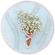 Baby's Breath Ice Cream Cone Round Beach Towel by Stephanie Frey