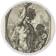 Bacchus God Of Ectasy Round Beach Towel