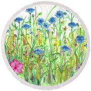 Round Beach Towel featuring the painting Bachelor Button Meadow by Cathie Richardson