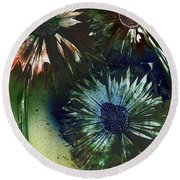 Bachelor Button Trio Round Beach Towel