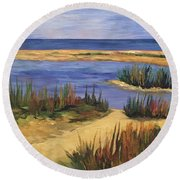 Back Bay Beach Round Beach Towel
