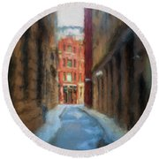 Back Bay Boston Round Beach Towel