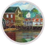 Back Bay Kennebunkport Round Beach Towel