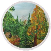 Round Beach Towel featuring the painting Back Country Place by Jack G Brauer