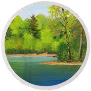 Round Beach Towel featuring the painting Back Country Pond by Frank Wilson