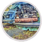 Round Beach Towel featuring the photograph Back End Bugs by Jean OKeeffe Macro Abundance Art