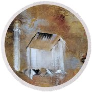 Round Beach Towel featuring the painting Back In The Day by Judith Rhue