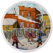 Back Lane Hockey Created By Prankearts Round Beach Towel