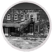 Round Beach Towel featuring the photograph Back Lot - Bw by Christopher Holmes