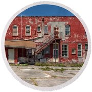 Round Beach Towel featuring the photograph Back Lot by Christopher Holmes